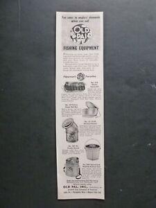 RARE Vtg 1957 DEALER Ad – Old Pal Minnow Air Feeder Wading Bucket Bait Box