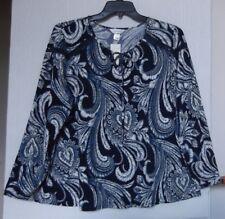 CJ Banks Size 1X Peasant knit top, long sleeve,  Navy, white, paisley print NWT