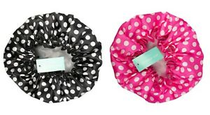 Black or Pink Polka Dot Spotty Retro Vintage Printed Waterproof Shower Hair Cap