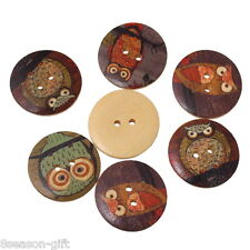 50PCs Wooden Buttons Owl Cartoon Pattern Fashion 2-hole Sewing Scrapbook DIY