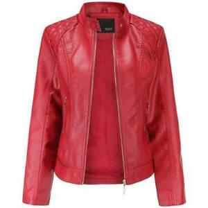 Women Faux Leather Biker Jacket Ladies Zip Stand Collar Coat Outwear Size 10-20