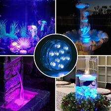 2x luces LED sumergibles con/remoto a prueba agua Fuente piscina Bañera Luz spa