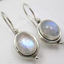 "925 Silver BLUE FIRE RAINBOW MOONSTONE Beautiful Earrings 1"" BRAND NEW ITEM"