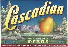 Vintage Cascadian Washington Pears Crate Label  Cascadian Fruit  Wenatchee,Wa.