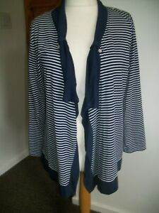 SIZE 18 FROM BON MARCHE NAVY WHITE STRIPPED CARDIGAN