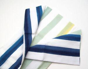West Elm Multi Colors Blue Water Color Stripe Standard Pillow Cover Sham New