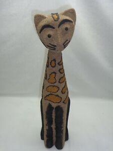 Vtg Boho Cat Statue Funky Tiki Cool Kitsch Mcm Bohemian Modern Accent Art Decor