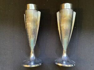 1930's Vintage Art Deco Chrome Plated Vases - RARE