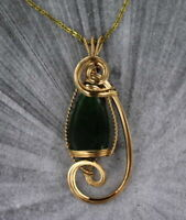 JADE  GEMSTONE  PENDANT IN 14KT ROLLED GOLD SETTING - wire wrapped