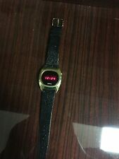 VINTAGE BIRKS LED WATCH~(SIMILAR TO PULSAR LED)~GOLD & LIZARD STRAP