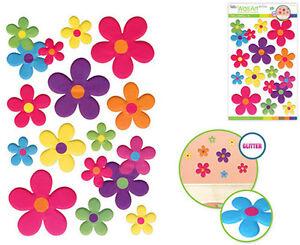 FLOWERS daisies glitter 3D puffy wall sticker 13 decals floral garden room decor