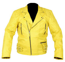 Vintage Classic Diamond Motorcycle Biker Yellow Cow-hide Real Leather Jacket