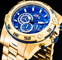 Invicta VIPER SPEEDWAY MOMENTUM CHRONOGRAPH Blue Dial 18Kt Gold Reloj Watch
