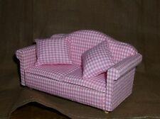 Sofa rosa kariert Miniatur 1:12 Puppenhaus
