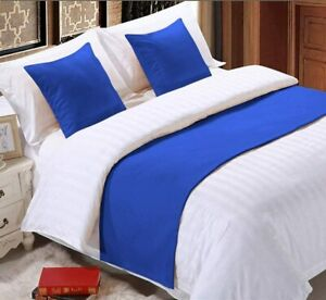 1000 TC New Egyptian Cotton All US Sizes 3 PC Bed Runner Scarf Set Solid Colors