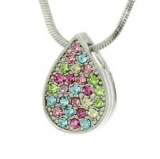 """Tear Drop Necklace Made With Swarovski Crystal Multicolor Pendant Gift 18"""" Chain"""