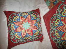 Kissenhüllen 45 x 45 Rot-Türkis-Gelb-Blau-Beige 3er Set Bunt große Blume