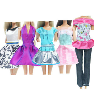 5 Outfits Party Mini Dress Evening Ball Cute Clothes Pants Shirt for 12 in. Doll