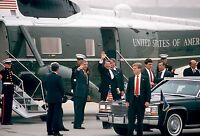 President Ronald Reagan waves after arriving Andrews on Marine One Photo Print
