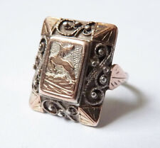 Bague ancienne en ARGENT massif vermeil vénerie cerf chasse silver  ring