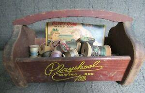 Vintage Wooden Playskool Sewing Box With Wood Thread Spools