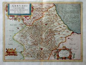 ITALIA MAGINI MAPPA COLORATO ABRUZZO ULTERIORE REGIONE DEL REGNO DI NAPOLI 1620
