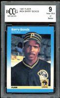 1987 Fleer #604 Barry Bonds Rookie Card BGS BCCG 9 Near Mint+