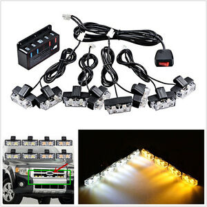 8 Pcs DC12V 2-LED Amber + White Car SUV Front Grille Hazard Flashing Light Strip