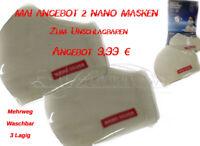 Nano Silber 3 Lagig Mundbehelfs Masken Mund Nase Gesicht  2 Stück