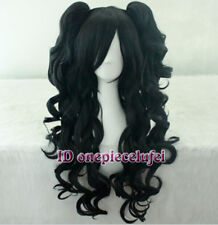 Cosplay Lolita New long Black Curly Heat Wig + Two Clip On Ponytail