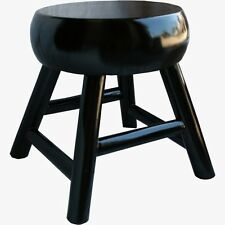 Chinese Black Round Stool - Thick Seat - One Piece of Wood (33-055)