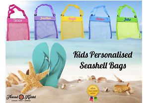 Kids Personalised Beach Seashell Bag -Custom Christmas Stocking Filler-Beach Bag