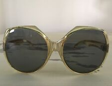 Womans Sunglasses - Vtg 1970s Oversize Disco Clear Green Plastic Frames