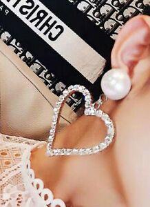 Big Heart Drop Earrings for Women Silver Rhinestones White Pearl Fashion