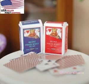 2 Sets Poker Playing Card Dollhouse Miniature 1:12 Scale Toy Accessories Decor
