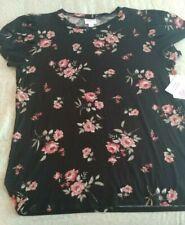 Lularoe Medium Olive. Tulip Sleeve shirt. Black and pink floral