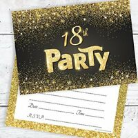 Olivia Samuel Black and Gold Effect 18th Birthday Party Invitations - Ready to W