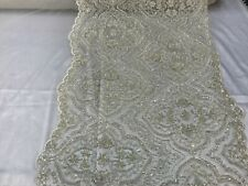 Ivory Beaded French Embroidered Handmade Diamond  Mesh Lace Fabric By the Yard