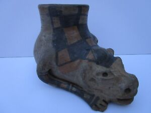 ANTIQUE SOUTH AMERICAN RELIC VESSEL CARVING SCULPTURE LARGE 8 INCH ARTIFACT POT