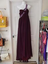 Full Length Occasional Dress in Purple with Asymmetric Neckline UK Size 8-10
