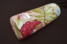 LF806g Teal Gray Red Pink Brow Cotton Canvas Neck Yoga Bolster Case Pillow Cover