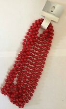 """48"""" long Rope Bead Necklace x3 Bead strands Red Costume Jewellery Retro 80's 99p"""