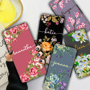 Personalised NAME FLOWERS Leather WALLET Phone Case Cover For iPhone & Samsung
