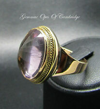Tests as 9ct Gold Antique 15ct Rose De France Amethyst Dome Ring Size Q 8.82g