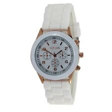Jelly SILICONE Sports Analogue WHITE Wrist Watch Geneva Men Ladies Kids UK SALE