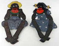 PAIR OF BOY & GIRL BLACKAMOOR WATERMELON EATING PLANTER POT SITTERS HAND PAINTED
