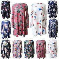 Ladies Womens Swing Floral Print Long Sleeve Flared Skater Top Dress Plus Size