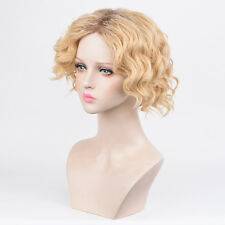 Fashion Women Short Curly wave Bob Platinum blonde ombre Wig Wigs Vogue Girl