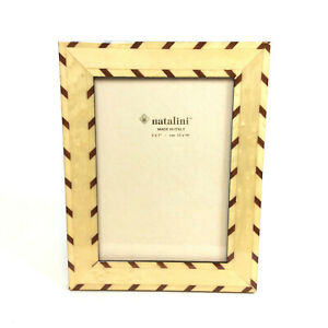 Natalini Picture Frame Table Top Marquetry Wood Brown Ivory Stripe 4x6