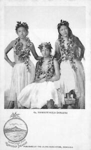HAWAIIAN HULA DANCERS HAWAII GREETINGS POSTCARD (c. 1900)